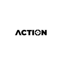 Action for focus target logo design vector
