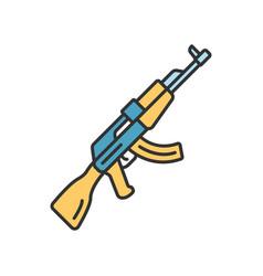 Akm weapon color icon virtual video game firearm vector