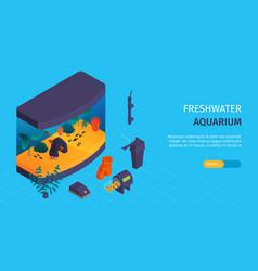 Aquarium isometric banner vector
