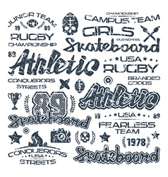 Athletic elements with shabby texture vector