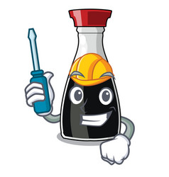 Automotive soy sauce isolated on the mascot vector