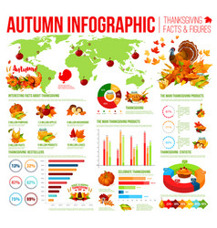 Autumn infographic of thanksgiving day celebration vector