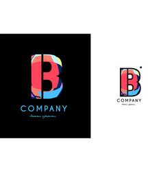 b blue red letter alphabet logo icon design vector image