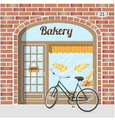 bakery shop building facade of red bricks vector image