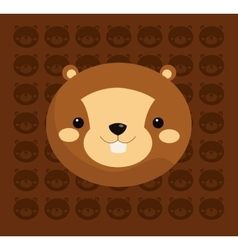 Beaver with pattern background image vector