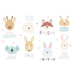big set hand drawn cute animals ant text vector image