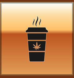Black cup coffee with marijuana or cannabis leaf vector