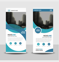 Blue curve business roll up banner flat design vector