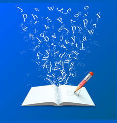 Book with flying letters art vector