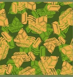 Bulldozer army pattern seamless grader military vector