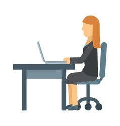 Business woman working on laptop computer at vector image
