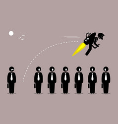 Businessman flying away with a jetpack from his vector