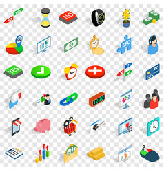 Button icons set isometric style vector
