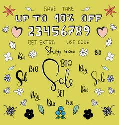 cartoon big sale setmake your own personal banner vector image