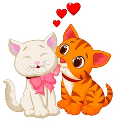 Cartoon cat licking vector image