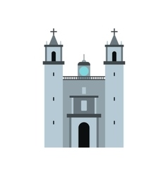 Cathedral in Valladolid Mexico icon flat style vector image
