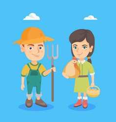 caucasian boy and girl with chicken and rake vector image