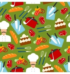 Chef cooking dinner seamless pattern vector
