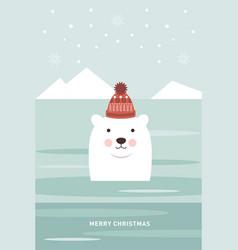 christmas card polar bear vector image