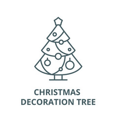 christmas decoration tree line icon linear vector image