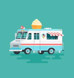 Colorful flat ice cream truck cartoon vector