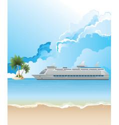 Cruise ship anchored vector