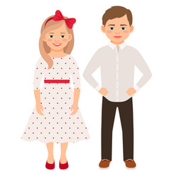 Cute cartoon fashion kids couple vector