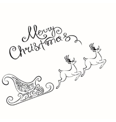 Deer merry Christmas poster template vector