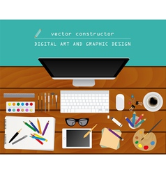 Digital art and graphic design Working place in vector image