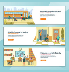 Disabled people in society three landing page set vector