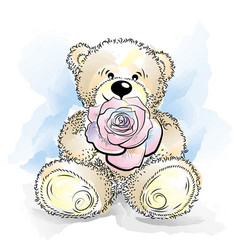 drawing teddy bear with flower vector image