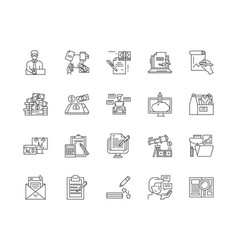 editorial business line icons signs set vector image