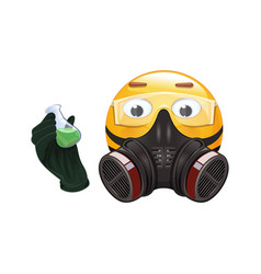 Emoji in a respirator and protection glasses vector