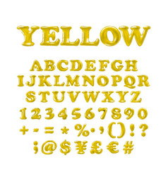 english alphabet and numerals from yellow vector image
