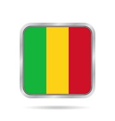 Flag of Mali Shiny metallic gray square button vector