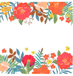 Floral background hand drawn flowers with place vector