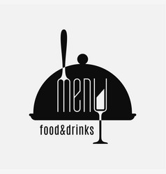 food and drinks logo fork and glass on white vector image