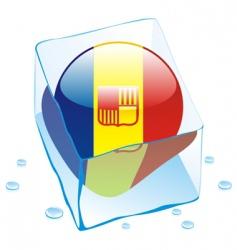 frozen button flag of andorra vector image