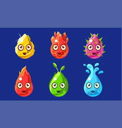 funny colorful glossy shapes characters set cute vector image