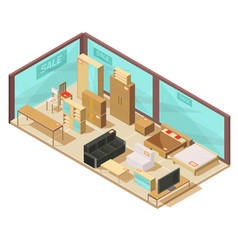 furniture store isometric composition vector image