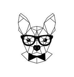 geometric portrait of a french bulldog wearing vector image