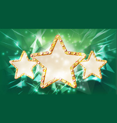 gold star frame beauty diamond three star vector image