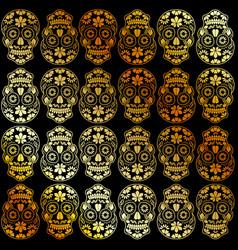 golden calavera floral skulls- mexican sugar skull vector image