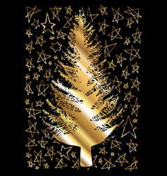 golden sketched christmas tree isolated on vector image