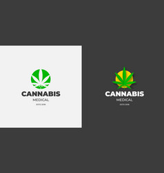 graphic logo with a leaf marijuana in a green vector image