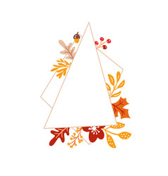 hand drawn minimalistic autumn frame with leaves vector image