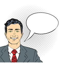 hand drawn pop art of happy smiling businessman vector image