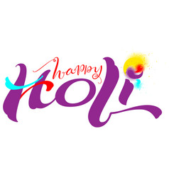 happy holi indian festival text for greeting card vector image