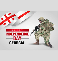 Happy independence day georgia georgian soldier vector