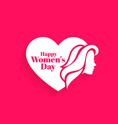 Happy womens day face and heart concept design vector